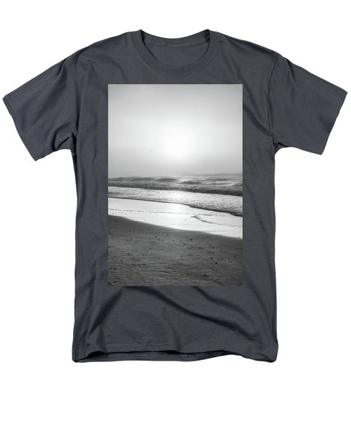 Men's T-Shirt  (Regular Fit) featuring the photograph Sunrise At Beach Black And White  by John McGraw