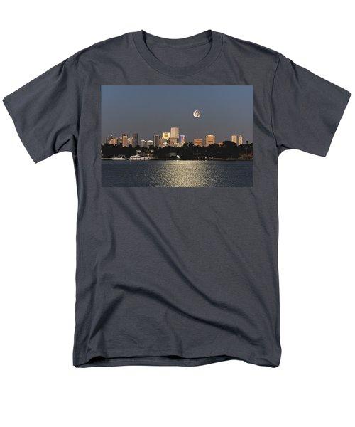 Men's T-Shirt  (Regular Fit) featuring the photograph Sunrise Moon Over Miami by Gary Dean Mercer Clark
