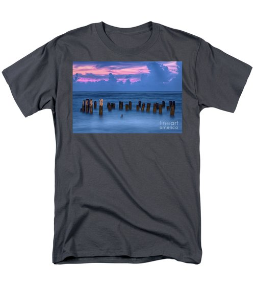 Men's T-Shirt  (Regular Fit) featuring the photograph Sunrise Wharf On Ocracoke Island Outer Banks by Dan Carmichael