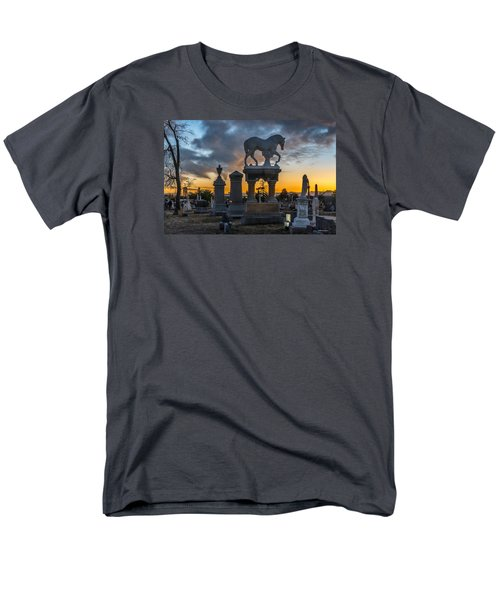 Sunset At Riverside Cemetery Men's T-Shirt  (Regular Fit) by Stephen  Johnson