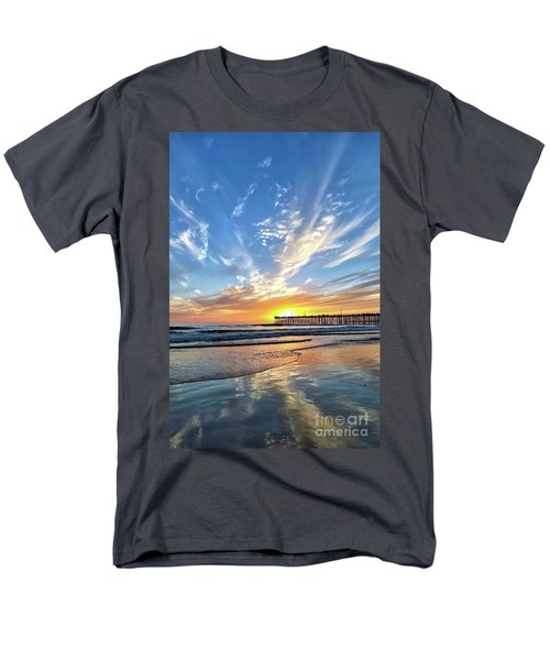Men's T-Shirt  (Regular Fit) featuring the photograph Sunset At The Pismo Beach Pier by Vivian Krug Cotton