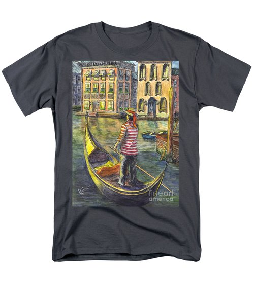 Men's T-Shirt  (Regular Fit) featuring the painting Sunset On Venice - The Gondolier by Carol Wisniewski