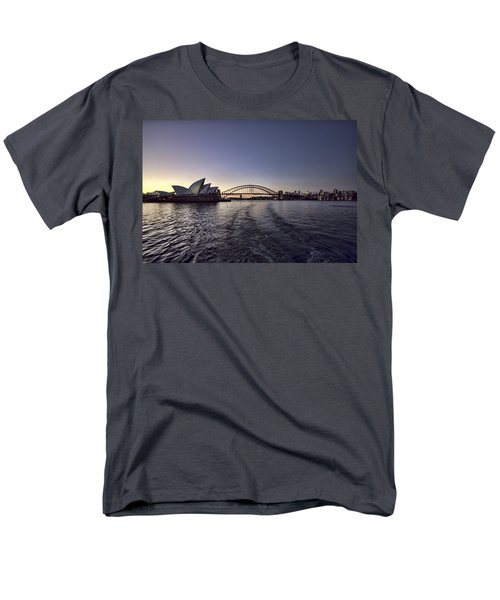 Sunset Over Sydney Harbor Bridge And Sydney Opera House Men's T-Shirt  (Regular Fit) by Douglas Barnard