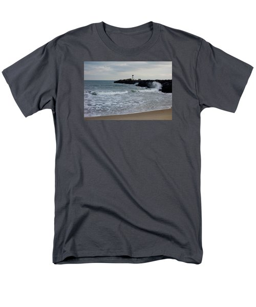 Men's T-Shirt  (Regular Fit) featuring the photograph Surf Beach At Manasquan Inlet by Melinda Saminski