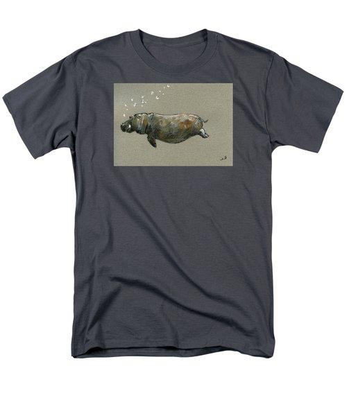 Swimming Hippo Men's T-Shirt  (Regular Fit) by Juan  Bosco
