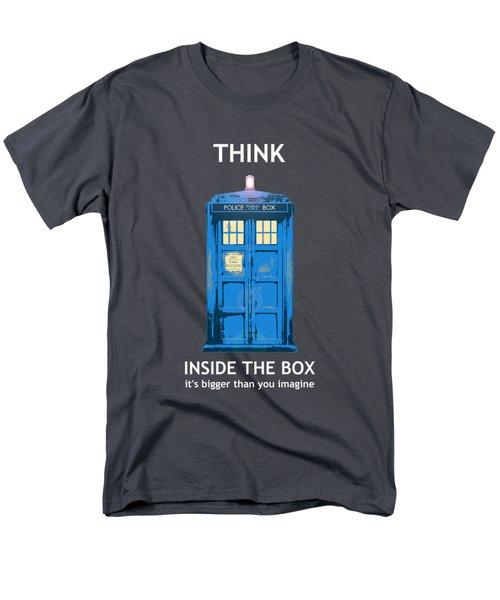Tardis - Think Inside The Box Men's T-Shirt  (Regular Fit) by Richard Reeve