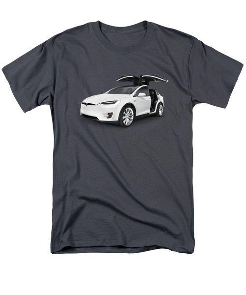 Tesla Model X Luxury Suv Electric Car With Open Falcon-wing Doors Art Photo Print Men's T-Shirt  (Regular Fit) by Oleksiy Maksymenko