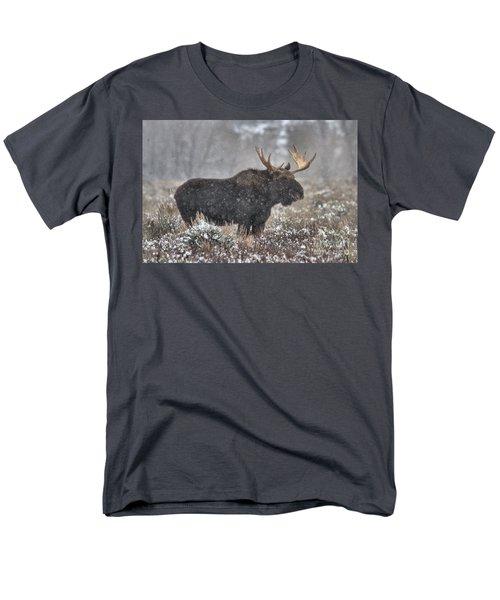 Men's T-Shirt  (Regular Fit) featuring the photograph Teton Snowy Moose by Adam Jewell