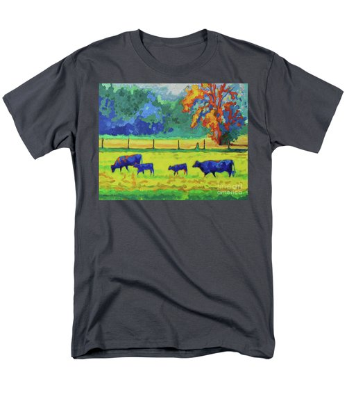 Texas Cows And Calves At Sunset Painting T Bertram Poole Men's T-Shirt  (Regular Fit) by Thomas Bertram POOLE