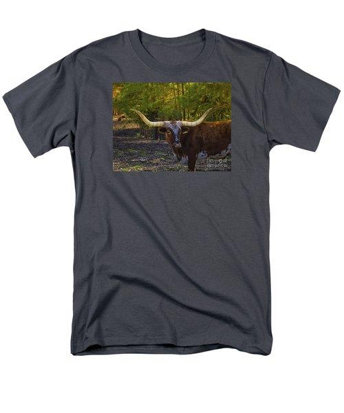 Men's T-Shirt  (Regular Fit) featuring the photograph Texas Long Horn Bull by Melissa Messick