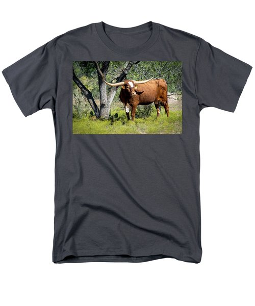 Men's T-Shirt  (Regular Fit) featuring the photograph Texas Longhorn Steer by David Morefield