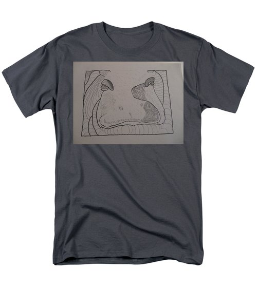 Men's T-Shirt  (Regular Fit) featuring the drawing Textured Hippo by AJ Brown