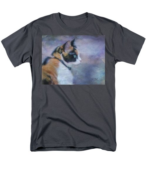 Men's T-Shirt  (Regular Fit) featuring the digital art The Calico Staredown  by Colleen Taylor