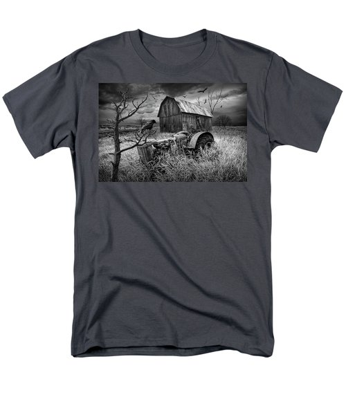 Men's T-Shirt  (Regular Fit) featuring the photograph The Decline And Death Of The Small Farm In Black And White by Randall Nyhof