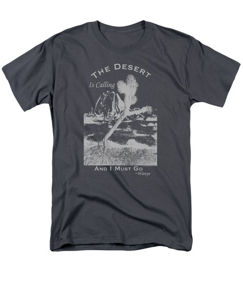 Men's T-Shirt  (Regular Fit) featuring the digital art The Desert Is Calling And I Must Go - Gray by Peter Tellone