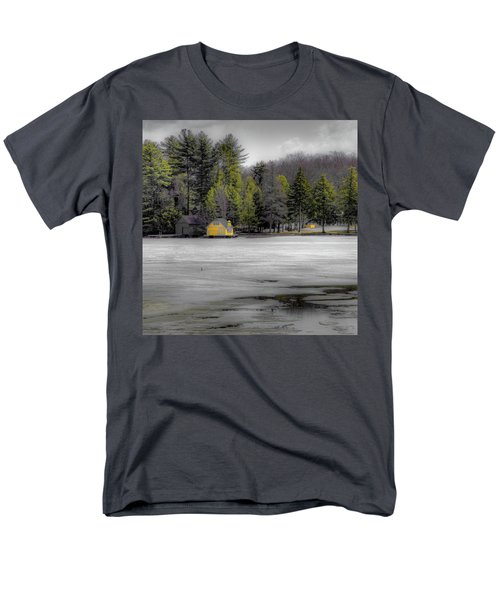 Men's T-Shirt  (Regular Fit) featuring the photograph The Lighthouse On Frozen Pond by David Patterson