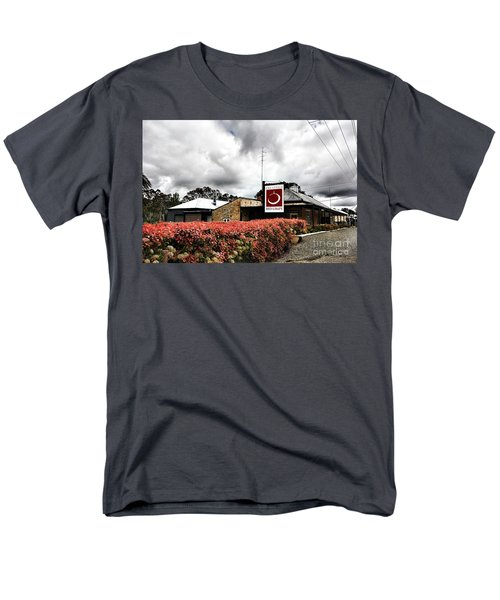 Men's T-Shirt  (Regular Fit) featuring the photograph The Little Red Grape Winery   by Douglas Barnard