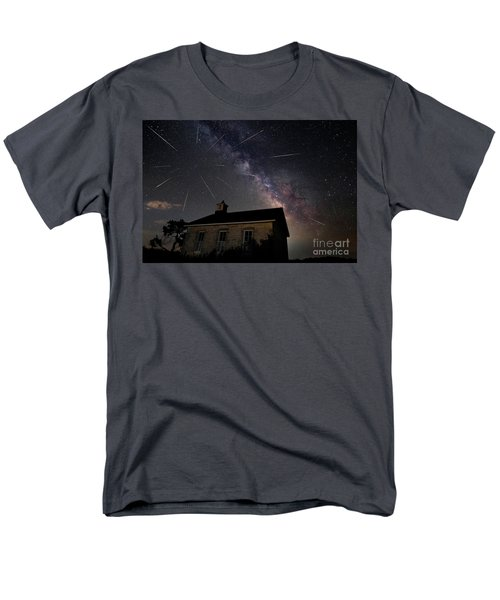 The Perseid Meteor Shower At Lower Fox Creek School  Men's T-Shirt  (Regular Fit) by Keith Kapple