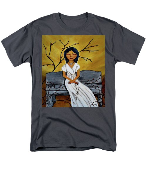 Men's T-Shirt  (Regular Fit) featuring the painting The Power Of The Rosary Religious Art By Saribelle by Saribelle Rodriguez