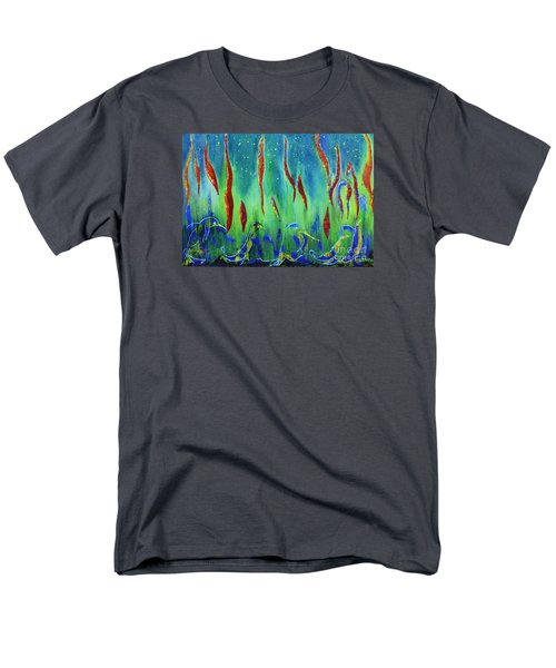 Men's T-Shirt  (Regular Fit) featuring the painting The Secret World Of Water And Fire by AmaS Art