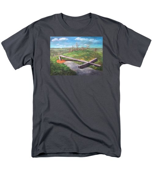Men's T-Shirt  (Regular Fit) featuring the painting Millsfield Tennessee Steel Cross by Randol Burns