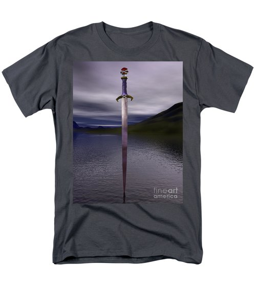 The Sword Excalibur On The Lake Men's T-Shirt  (Regular Fit) by Nicholas Burningham