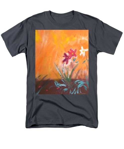 Men's T-Shirt  (Regular Fit) featuring the painting The Three Daisies by Winsome Gunning