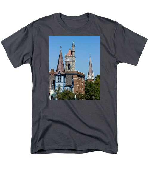 Three Steeples Of St Johnsbury Vermont Men's T-Shirt  (Regular Fit) by Tim Kirchoff