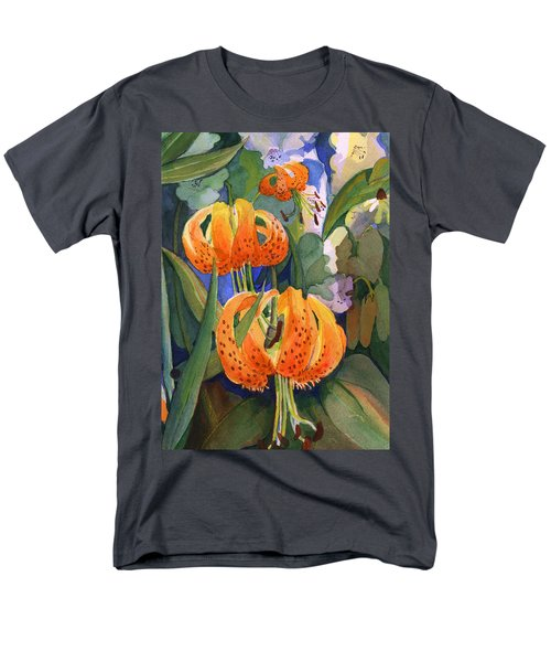 Men's T-Shirt  (Regular Fit) featuring the painting Tiger Lily Parachutes by Nancy Watson