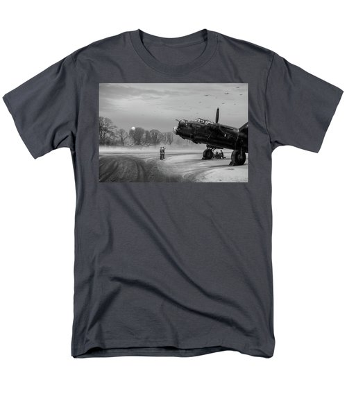 Men's T-Shirt  (Regular Fit) featuring the photograph Time To Go - Lancasters On Dispersal Bw Version by Gary Eason