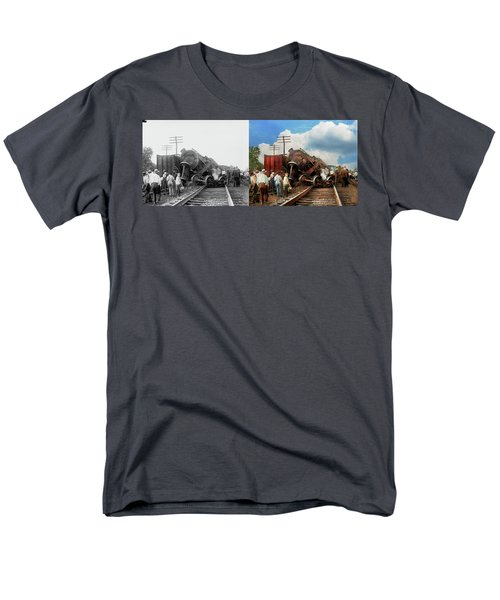 Men's T-Shirt  (Regular Fit) featuring the photograph Train - Accident - Butting Heads 1922 - Side By Side by Mike Savad