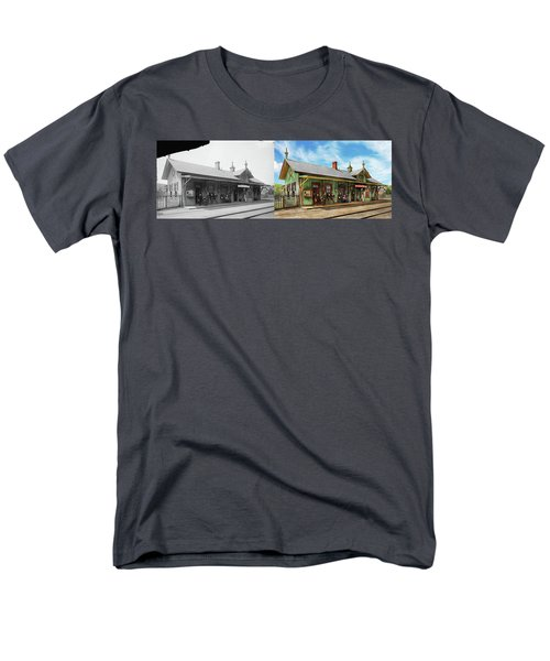 Men's T-Shirt  (Regular Fit) featuring the photograph Train Station - Garrison Train Station 1880 - Side By Side by Mike Savad