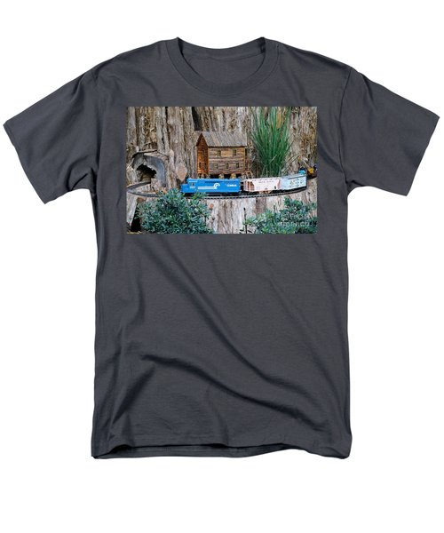 Men's T-Shirt  (Regular Fit) featuring the painting Train Train Take Me Out Of This Town by Robert Pearson