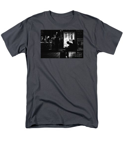 Men's T-Shirt  (Regular Fit) featuring the photograph Tram Station Silhouettes by Jivko Nakev