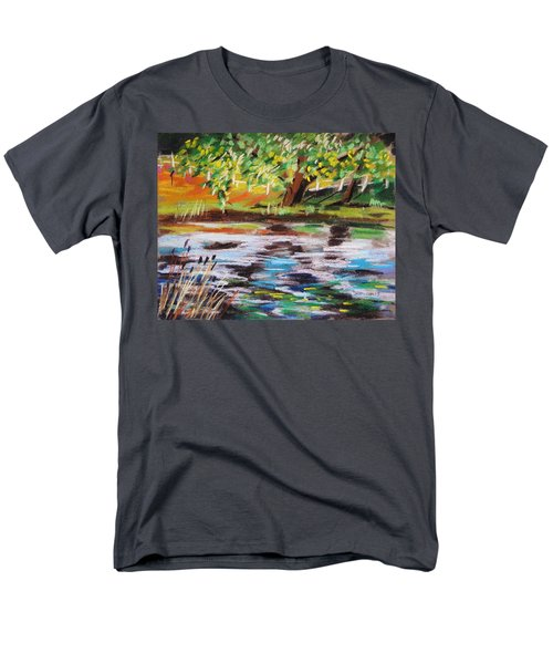 Men's T-Shirt  (Regular Fit) featuring the painting Trees Edge The Pond by John Williams