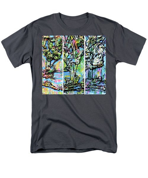 Men's T-Shirt  (Regular Fit) featuring the painting Triptych Of Three Trees By A Brook by Genevieve Esson