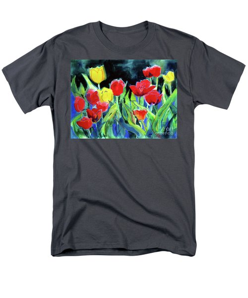 Men's T-Shirt  (Regular Fit) featuring the painting Tulip Bed At Dark by Kathy Braud