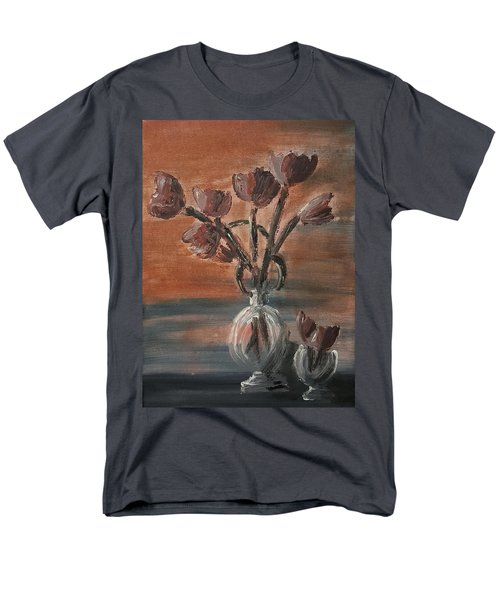 Men's T-Shirt  (Regular Fit) featuring the painting Tulip Flowers Bouquet In Two Round Water Filled Small Globe Shaped Vases On A Table Still Life Of Bo by MendyZ