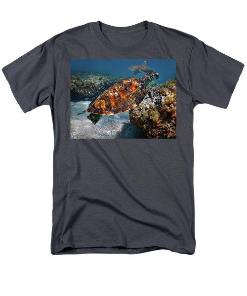 Turtle And Shark Swimming At Ocean Reef Park On Singer Island Florida Men's T-Shirt  (Regular Fit) by Justin Kelefas