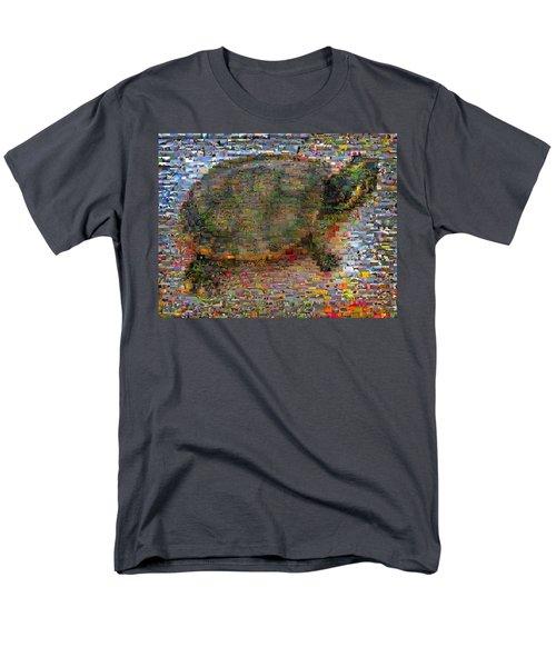 Men's T-Shirt  (Regular Fit) featuring the mixed media Turtle Wild Animals Mosaic by Paul Van Scott