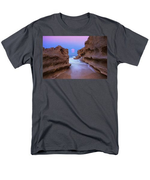 Twilight Moon Rising Over Hutchinson Island Beach Rocks Men's T-Shirt  (Regular Fit) by Justin Kelefas