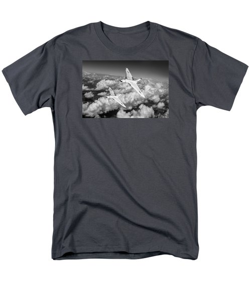 Men's T-Shirt  (Regular Fit) featuring the photograph Two Avro Vulcan B1 Nuclear Bombers Bw Version by Gary Eason