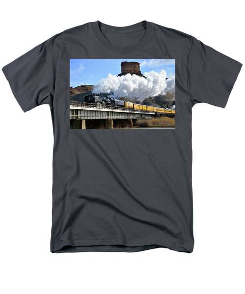 Union Pacific Steam Engine 844 And Castle Rock Men's T-Shirt  (Regular Fit) by Eric Nielsen