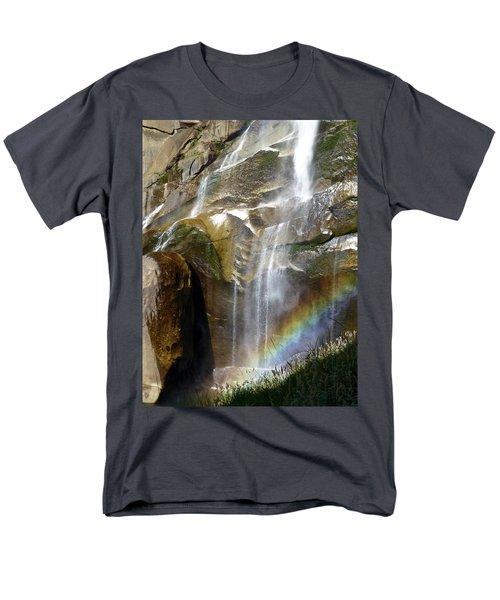 Vernal Falls Rainbow And Plants Men's T-Shirt  (Regular Fit) by Amelia Racca