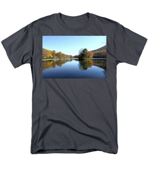 Men's T-Shirt  (Regular Fit) featuring the photograph View Of Abbott Lake With Trees On Island, In Autumn by Emanuel Tanjala