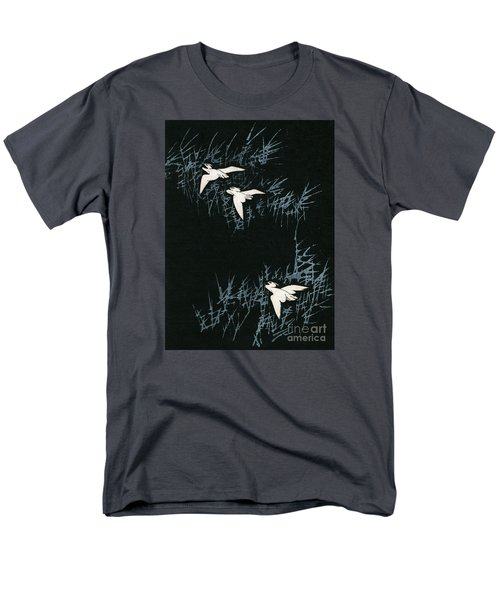 Vintage Japanese Illustration Of Three Cranes Flying In A Night Landscape Men's T-Shirt  (Regular Fit) by Japanese School