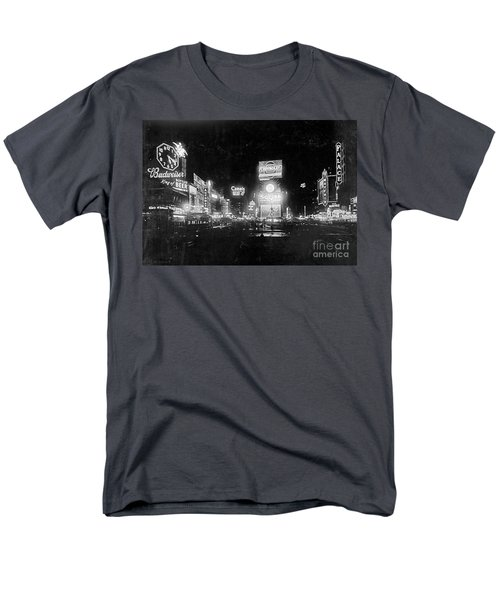Men's T-Shirt  (Regular Fit) featuring the photograph Vintage Times Square At Night Black And White by John Stephens