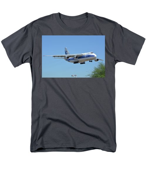Men's T-Shirt  (Regular Fit) featuring the photograph Volga-dnepr An-124 Ra-82068 Landing Phoenix Sky Harbor June 15 2016 by Brian Lockett