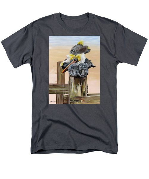 Men's T-Shirt  (Regular Fit) featuring the painting Waiting On The Tide by Phyllis Beiser