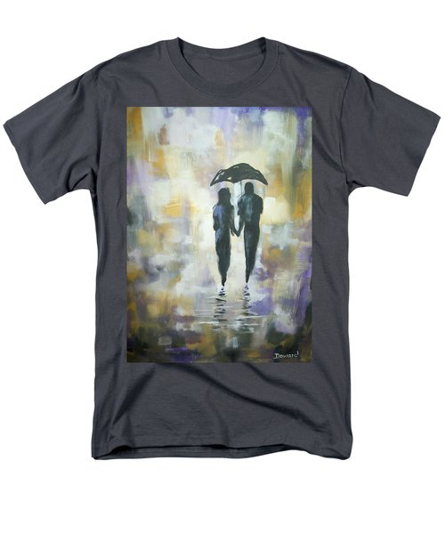 Men's T-Shirt  (Regular Fit) featuring the painting Walk In The Rain #3 by Raymond Doward